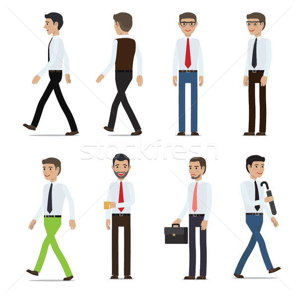 Businessmen Cartoon Characters Vector Collection Stock photo © robuart