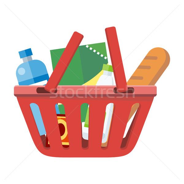 Piros bevásárlókosár különböző termékek illusztráció egy Stock fotó © robuart