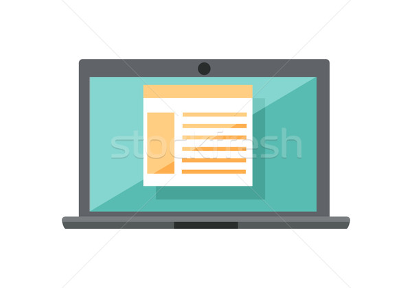 Laptop diagram képernyő szürke táblázat kék Stock fotó © robuart
