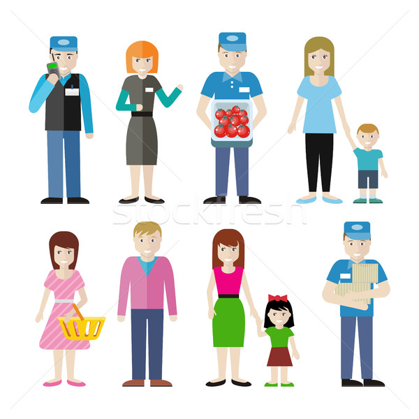 Set of Store Personnel and Customers Characters. Stock photo © robuart