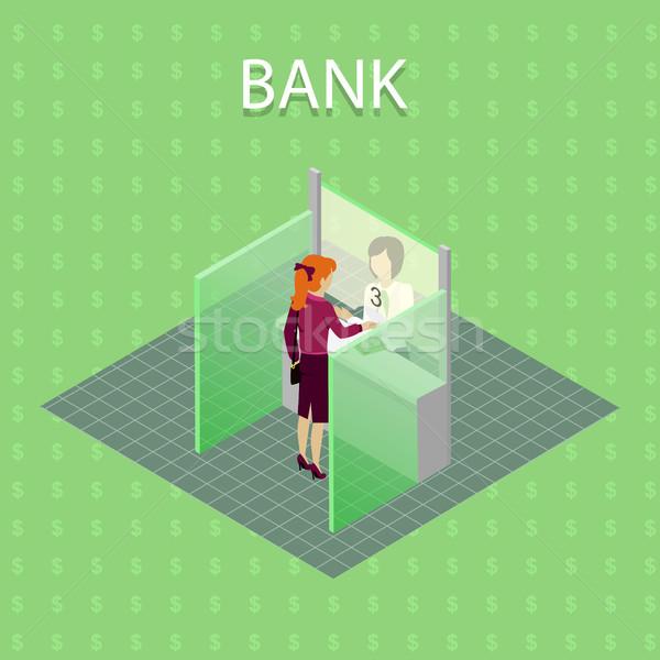 Stock fotó: Bank · vektor · izometrikus · vetítés · nő · pénz