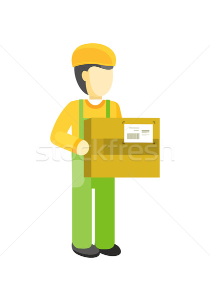 Delivery man Worker holds package in his hands. Stock photo © robuart