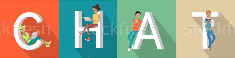 Chat Conceptual Flat Style Vector Web Banner Stock photo © robuart