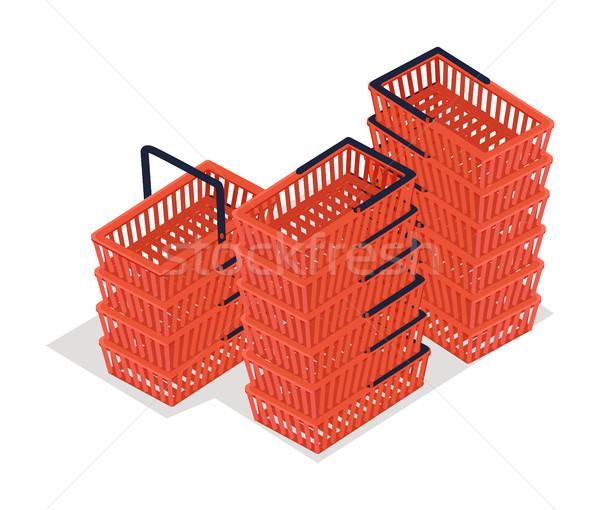 Set of Shopping Carts Isolated on White. Trolley Stock photo © robuart