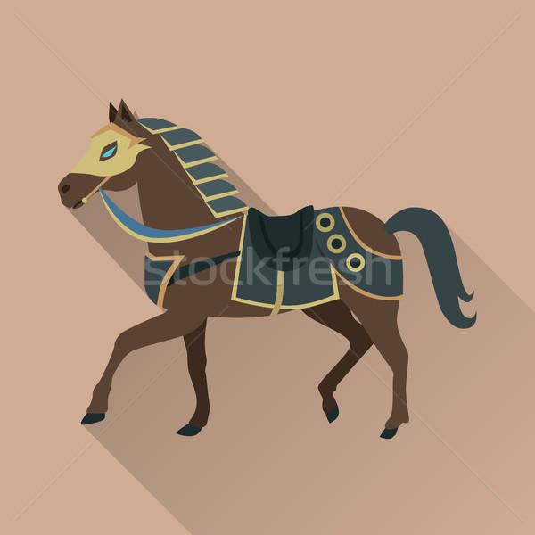 Barna ló arany izolált avatar ikon Stock fotó © robuart