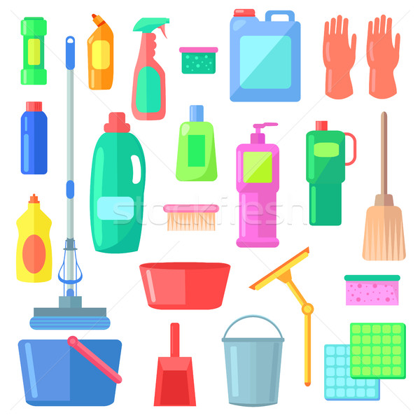 Cleaning. Different Icons of Cleaning Mean Kinds Stock photo © robuart