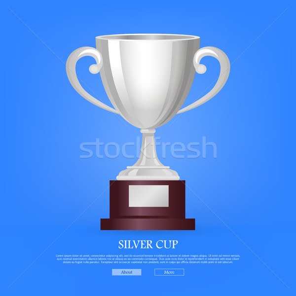 Stock photo: Silver Cup on Big Base with Light Blue Background