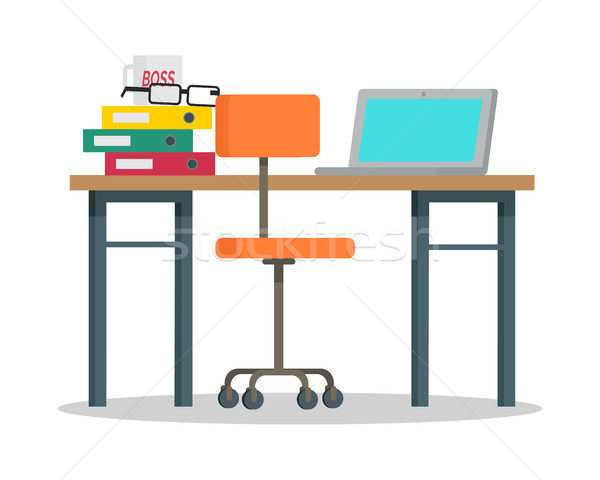 Workplace with Computer and Docs Flat Style Vector Stock photo © robuart