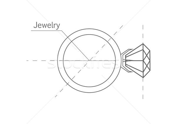 Gyűrű gyémánt grafikus forma terv skicc Stock fotó © robuart