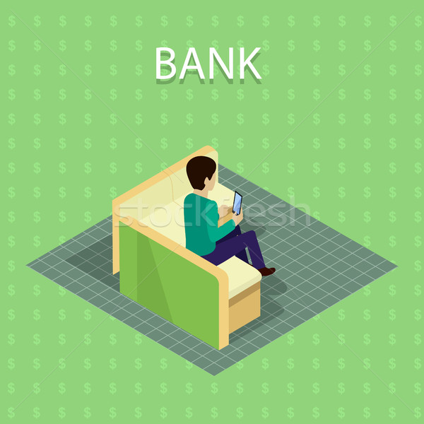 банка вектора изометрический проекция клиент телефон Сток-фото © robuart