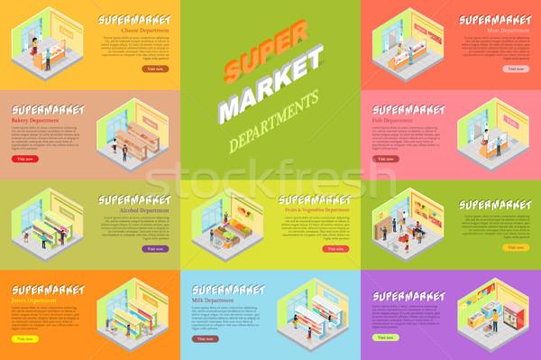 Supermercado banners establecer tienda tienda queso Foto stock © robuart