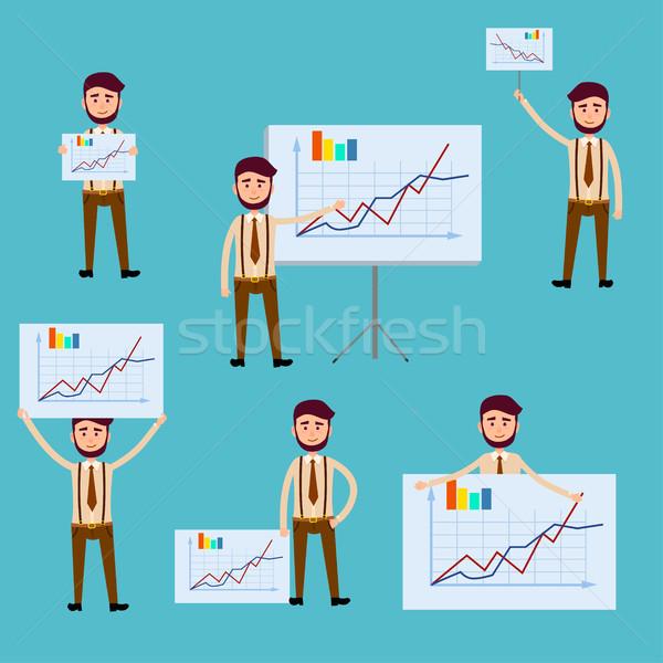 Iş adamı diyagram posterler iş adamı diyagramları Stok fotoğraf © robuart