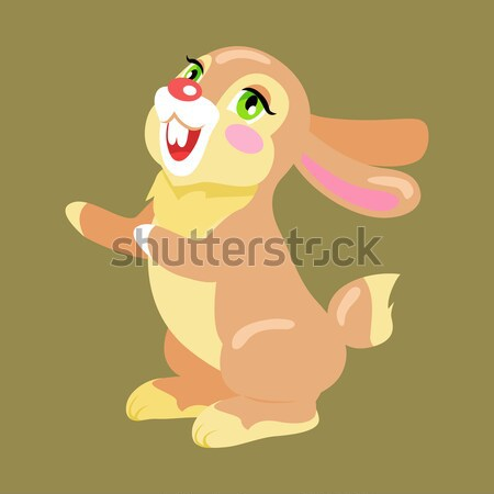 Easter Cheerful Bunny Holding Painted Egg Flat Stock photo © robuart