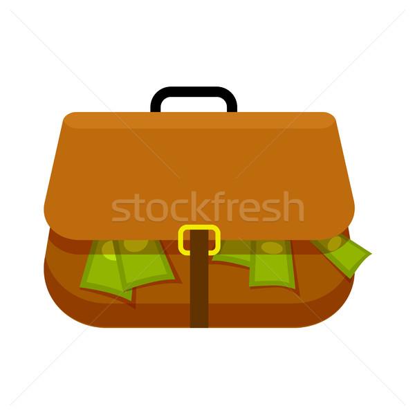 Bruin aktetas vol groene geld witte Stockfoto © robuart