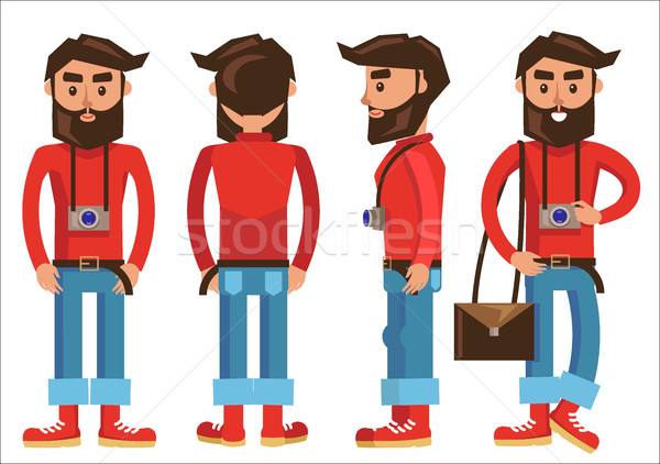 Photographer with Hanging Camera in Various Poses Stock photo © robuart