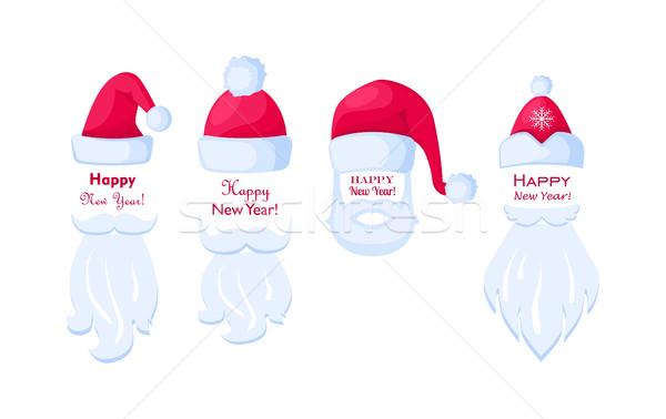 明けましておめでとうございます サンタクロース 白 ポスター 異なる 口ひげ ストックフォト © robuart