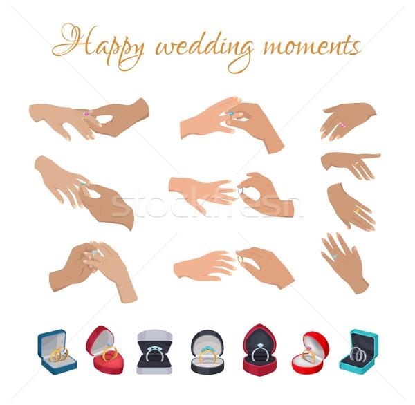Feliz casamento momentos anéis dedos coleção Foto stock © robuart