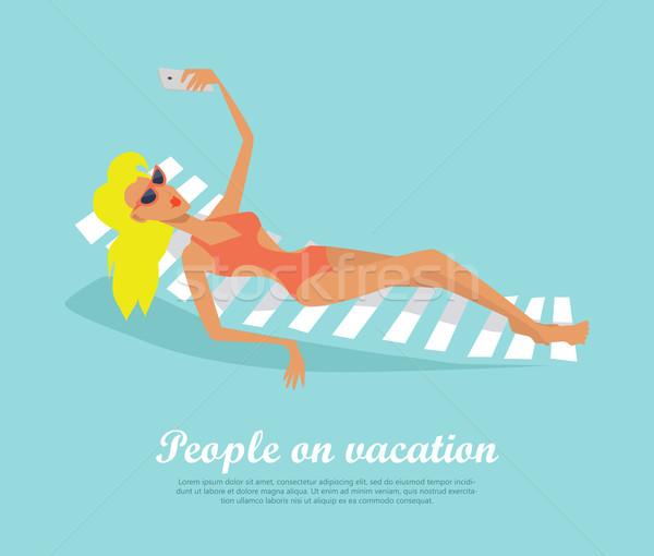 Menschen Urlaub Mädchen Deck Stuhl Frau Stock foto © robuart