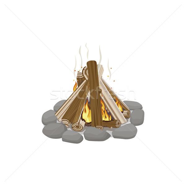 Kezdet tűzifa kövek égő tábortűz máglya Stock fotó © robuart
