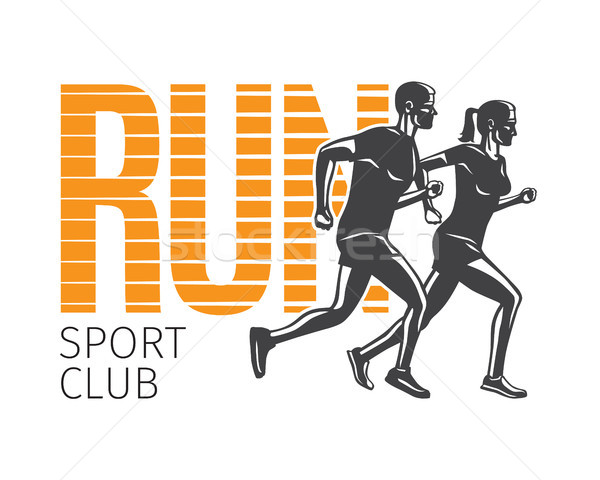 Run Sport Club. Running Man and Woman Logotypes. Stock photo © robuart