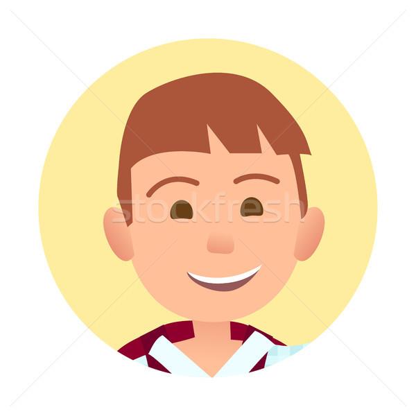 Aufrichtig Lächeln Porträt innerhalb gelb Stock foto © robuart