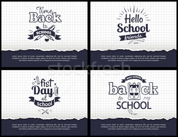 School-Related Set of Black-and-White Stickers Stock photo © robuart