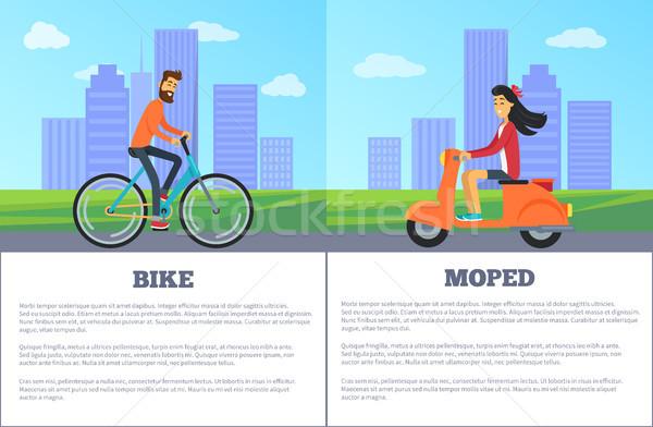 Bike versus Moped Comparing Vector Illustration Stock photo © robuart