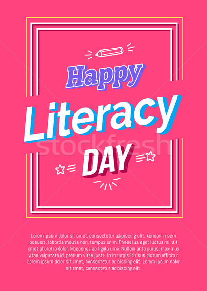 Heureux alphabétisation jour affiche rose crayon Photo stock © robuart