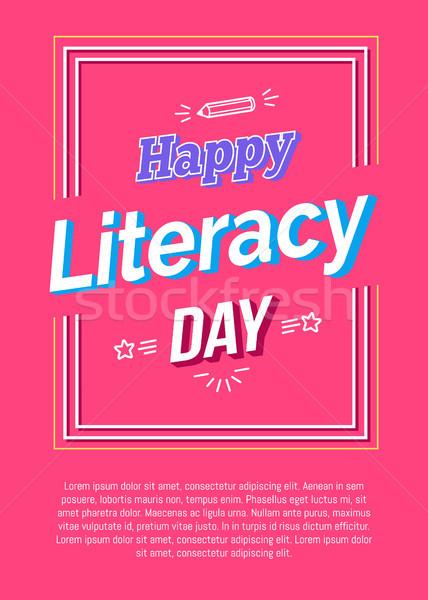 Gelukkig geletterdheid dag poster roze potlood Stockfoto © robuart