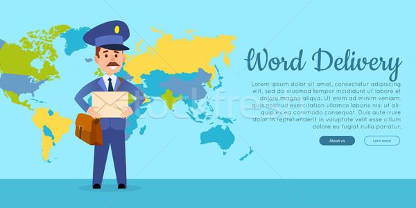 Mundo entrega vetor teia bandeira carteiro Foto stock © robuart