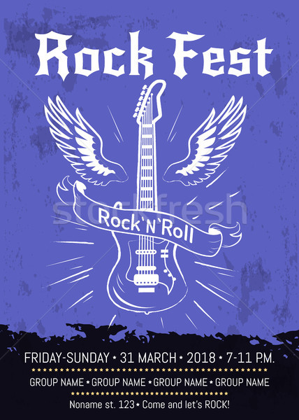 Rock n Roll Fest Announcement Poster Design Stock photo © robuart