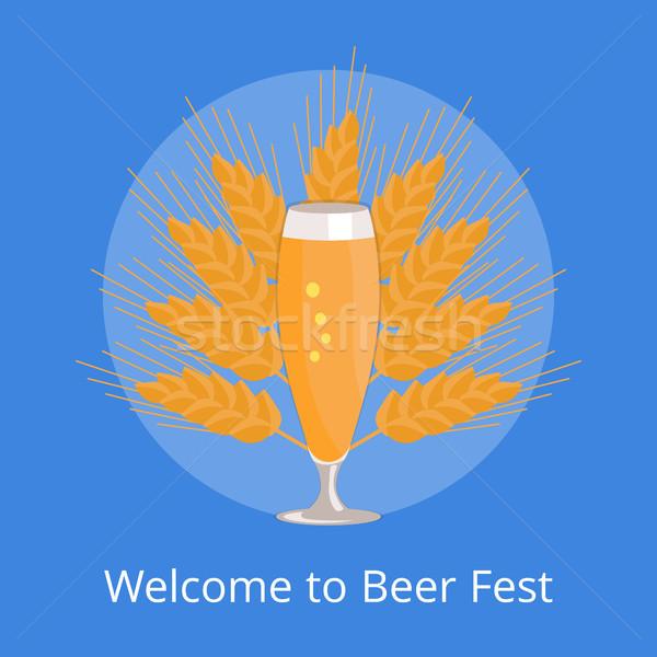 стекла пива изолированный белый приветствую логотип Сток-фото © robuart