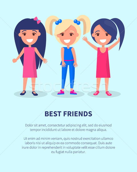 En İyi arkadaşlar üç kızlar poster aktif kadın Stok fotoğraf © robuart