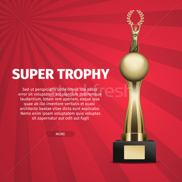 Super Trophy Vector Web Banner with Golden Cup Stock photo © robuart
