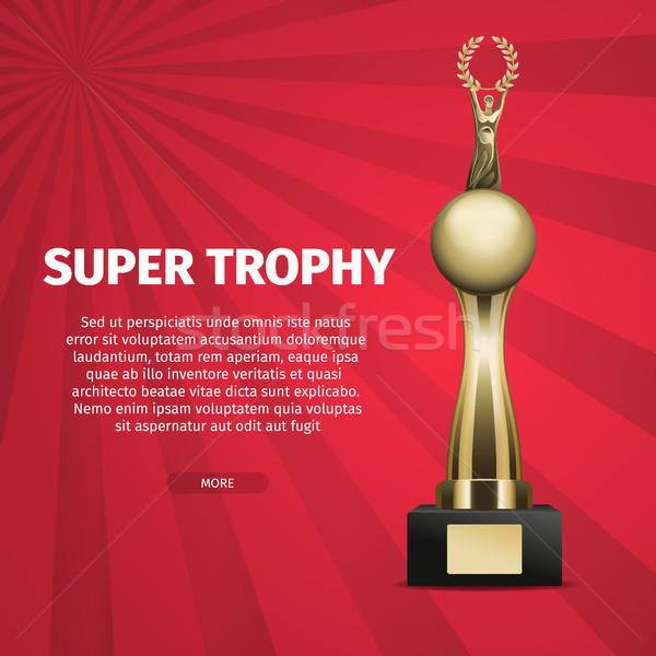 Super trofee vector web banner gouden Stockfoto © robuart