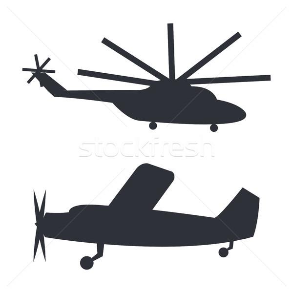 Сток-фото: вертолета · плоскости · черный · белый · изолированный