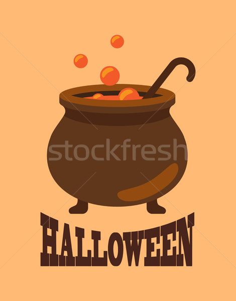 Halloween Poster with Closeup of Witch Cauldron Stock photo © robuart
