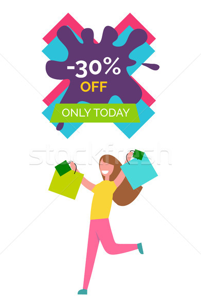 -30 Off Only Today Poster Vector Illustration Stock photo © robuart