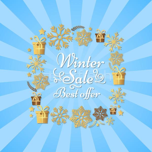 Inverno venda o melhor oferecer cartaz flocos de neve Foto stock © robuart