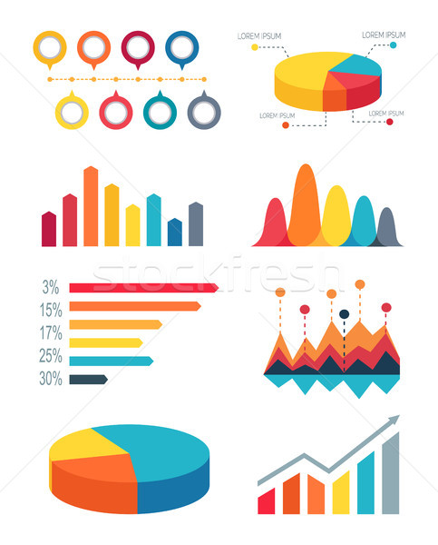 Set of Pie Charts and Bar Graphs for Infographic Stock photo © robuart
