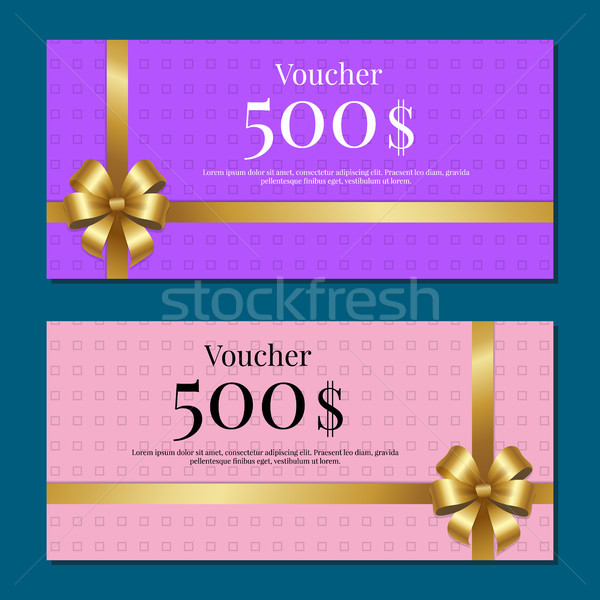 Voucher on 500 Set of Posters Gold Bow Ribbons Stock photo © robuart