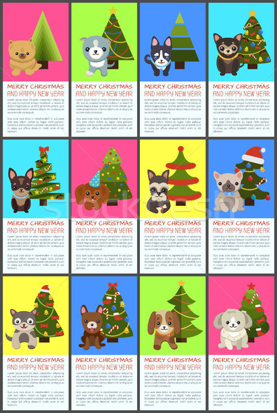 Vrolijk christmas gelukkig nieuwjaar huisdieren sparren ingesteld Stockfoto © robuart