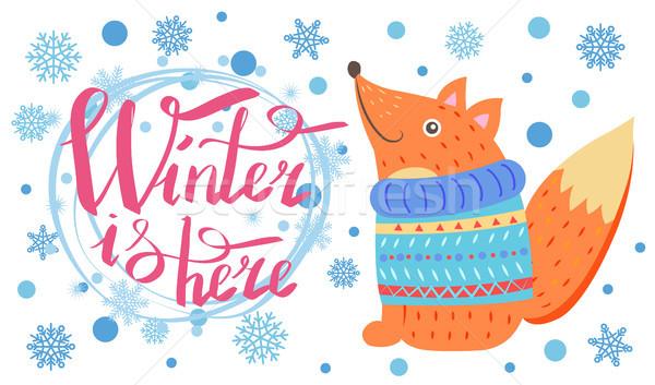 Inverno aqui cartaz raposa título flocos de neve Foto stock © robuart