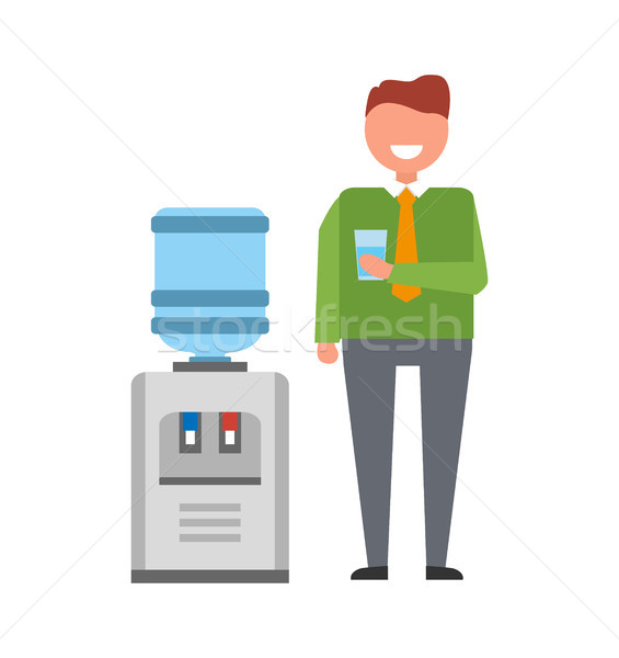 Man with Water Cooler Icon Vector Illustration Stock photo © robuart
