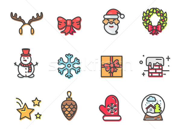 Stockfoto: Christmas · iconen · kleurrijk · poster · rendier