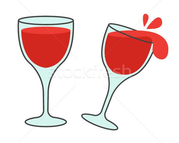 Dos gafas vino vector iconos elegante Foto stock © robuart