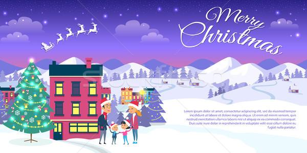 Stockfoto: Vrolijk · christmas · stad · blauwe · hemel · gelukkig · gezin · buiten