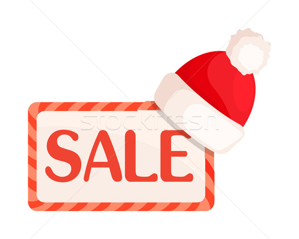 Sale Sign in Rectangular Frame with Santa Hat Stock photo © robuart