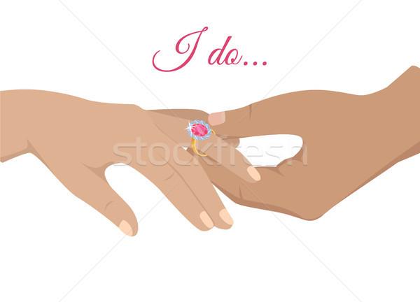 結婚 提案 エンゲージメント ベクトル 手 ストックフォト © robuart