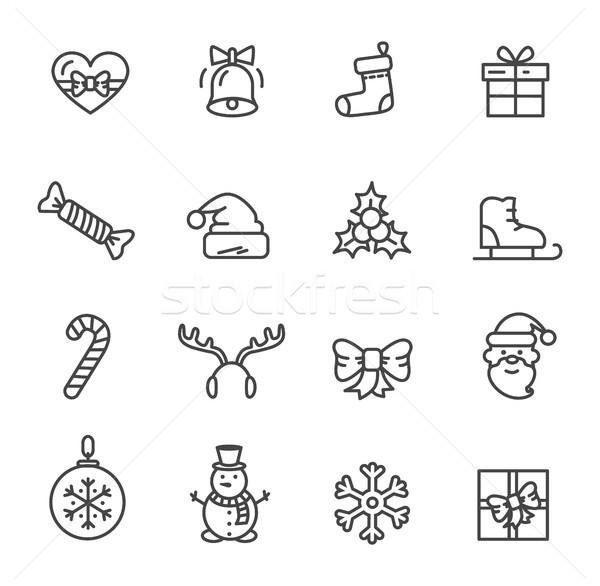 Foto stock: Navidad · establecer · iconos · aislado · blanco · corazón